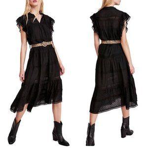 Free People Midnight Black Midi Dress. XS, L